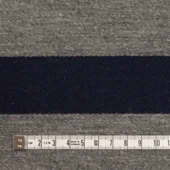 ウール&コットン×ボーダー(ネイビー&グレー)×二重織 サムネイル4
