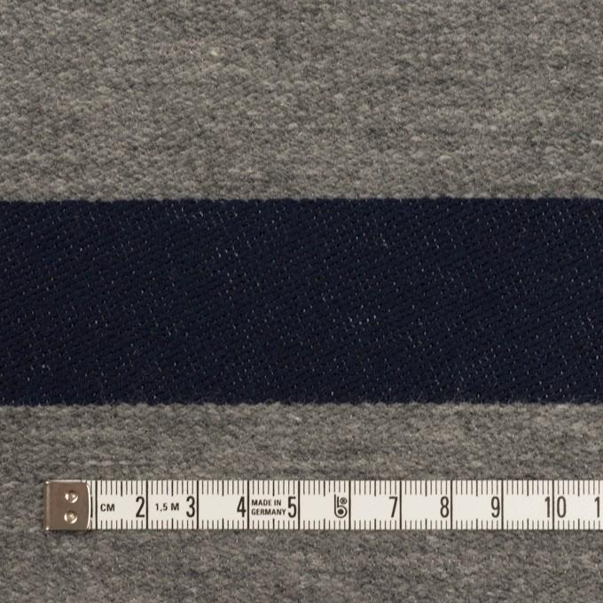 ウール&コットン×ボーダー(ネイビー&グレー)×二重織 イメージ4