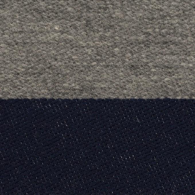 ウール&コットン×ボーダー(ネイビー&グレー)×二重織 イメージ1