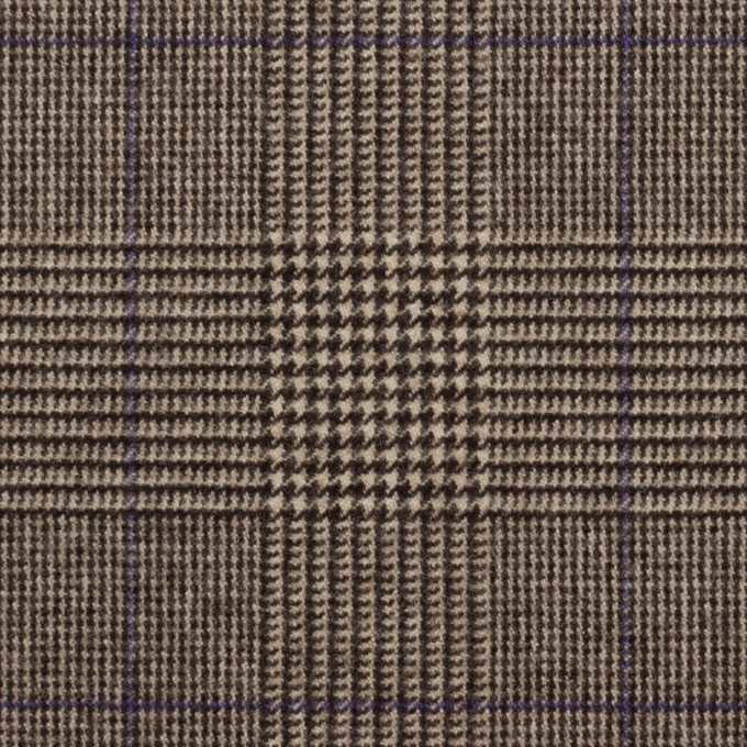 ポリエステル&レーヨン混×チェック(アッシュブラウン)×サージストレッチ_全2色 イメージ1