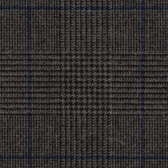 ポリエステル&レーヨン混×チェック(チャコールグレー)×サージストレッチ_全2色