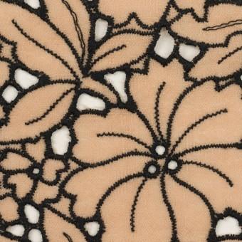 ウール×フラワー(ベージュ)×ガーゼ刺繍_全2色