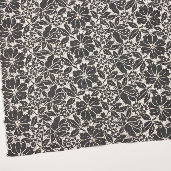 ウール×フラワー(チャコールグレー)×ガーゼ刺繍_全2色 イメージ2