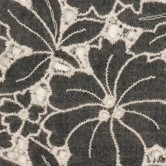ウール×フラワー(チャコールグレー)×ガーゼ刺繍_全2色