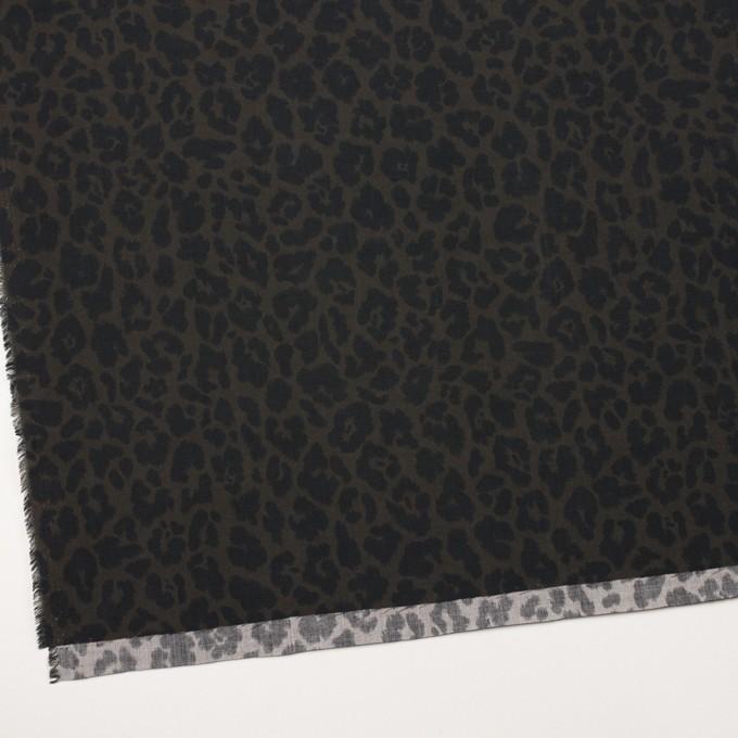 レーヨン×レオパード(ダークカーキグリーン&チャコール)×ポプリン イメージ2