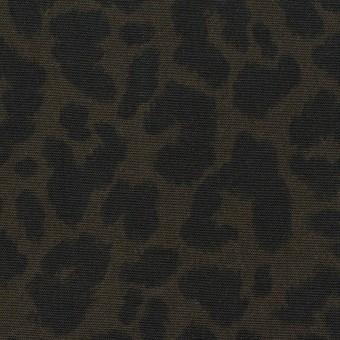 【140cmカット】レーヨン×レオパード(ダークカーキグリーン&チャコール)×ポプリン