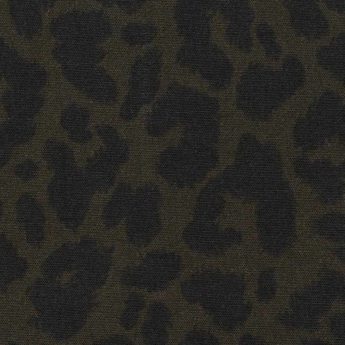 レーヨン×レオパード(ダークカーキグリーン&チャコール)×ポプリン イメージ1