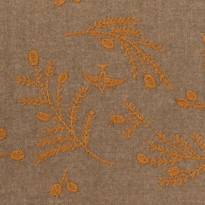 コットン×リーフ(カフェオレ&ハニー)×ビエラ刺繍 イメージ1