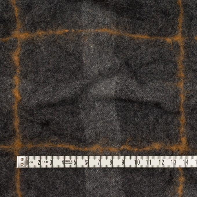ウール×チェック(チャコールグレー&ハニー)×ガーゼシャーリング イメージ4