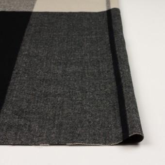 ポリエステル&アクリル混×チェック(グレイッシュベージュ&ブラック)×サージ_パネル_全2色 サムネイル3