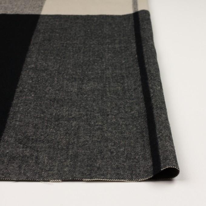 ポリエステル&アクリル混×チェック(グレイッシュベージュ&ブラック)×サージ_パネル_全2色 イメージ3