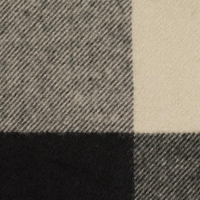 ポリエステル&アクリル混×チェック(グレイッシュベージュ&ブラック)×サージ_パネル_全2色 イメージ1