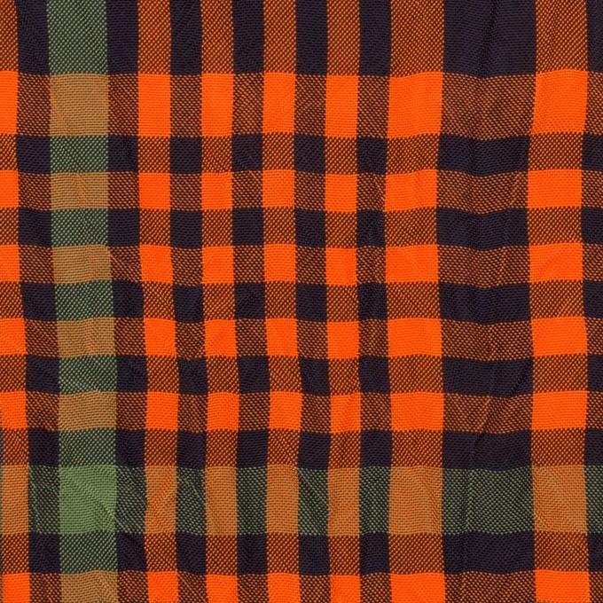 キュプラ×チェック(オレンジ&グリーン)×ポプリンワッシャー イメージ1