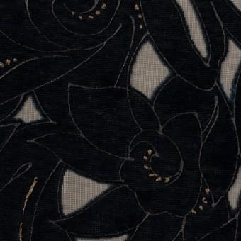 レーヨン&ポリエステル×フラワー(ネイビー)×オパールベルベット