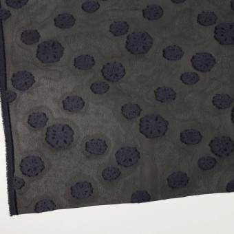 レーヨン&ウール×フラワー(ブラック&グレイッシュパープル)×ジョーゼット・カットジャガード サムネイル2