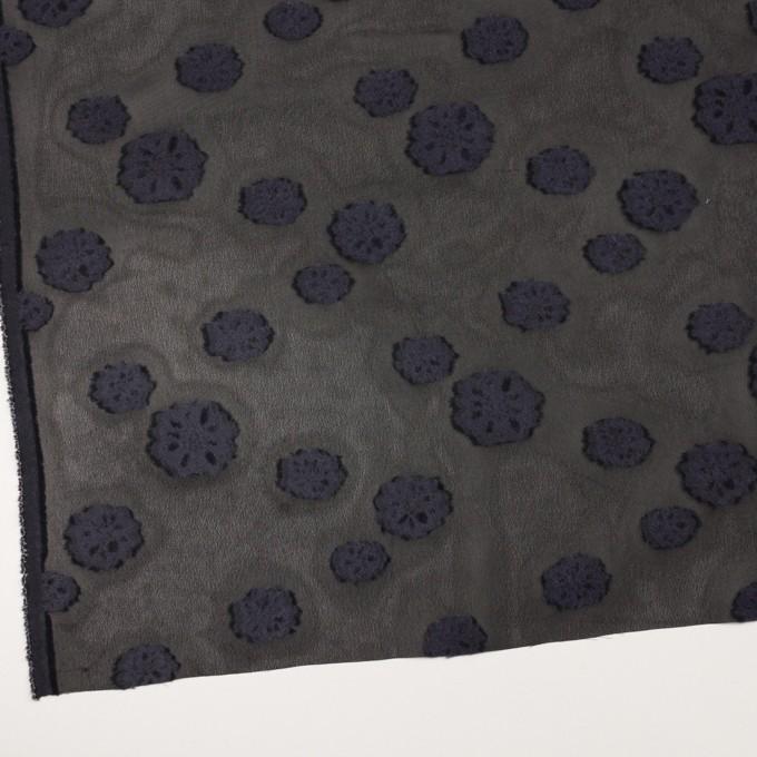 レーヨン&ウール×フラワー(ブラック&グレイッシュパープル)×ジョーゼット・カットジャガード イメージ2