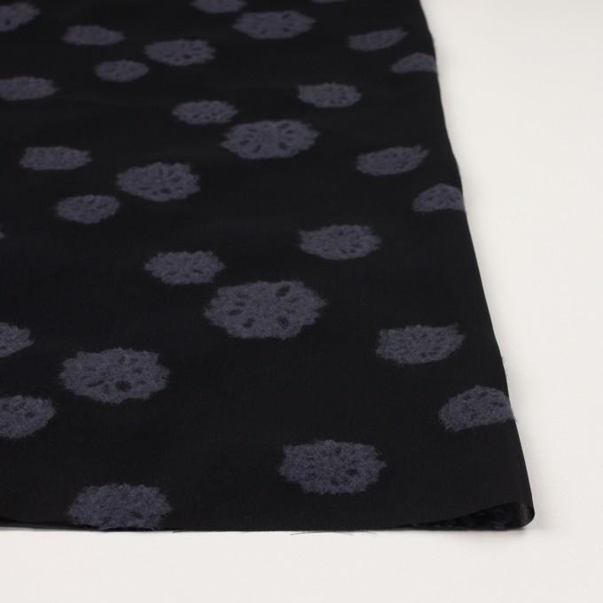 レーヨン&ウール×フラワー(ブラック&グレイッシュパープル)×ジョーゼット・カットジャガード イメージ3