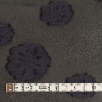 レーヨン&ウール×フラワー(ブラック&グレイッシュパープル)×ジョーゼット・カットジャガード サムネイル4