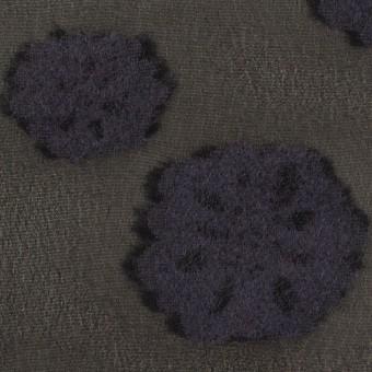 レーヨン&ウール×フラワー(ブラック&グレイッシュパープル)×ジョーゼット・カットジャガード