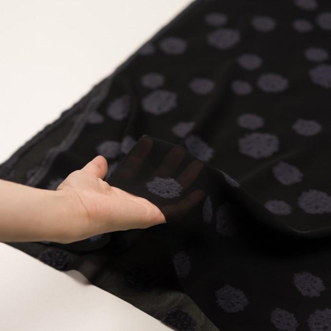 レーヨン&ウール×フラワー(ブラック&グレイッシュパープル)×ジョーゼット・カットジャガード イメージ5