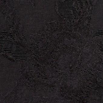 ウール&レーヨン混×フラワー(チャコールブラック)×ジャガード