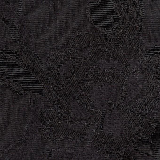 ウール&レーヨン混×フラワー(チャコールブラック)×ジャガード イメージ1