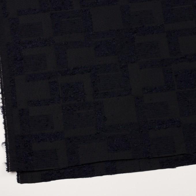 アクリル&コットン混×幾何学模様(ダークネイビー)×二重織ジャガード イメージ2