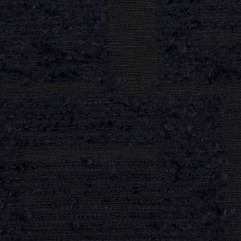 アクリル&コットン混×幾何学模様(ダークネイビー)×二重織ジャガード サムネイル1