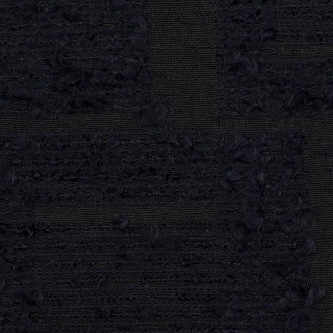 アクリル&コットン混×幾何学模様(ダークネイビー)×二重織ジャガード イメージ1