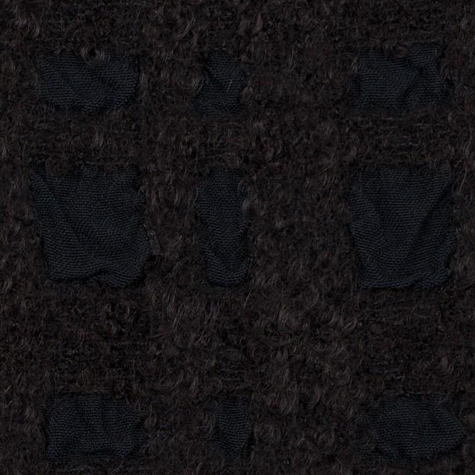 ウール&テンセル×チェック(ダークチャコール)×ジャガード イメージ1