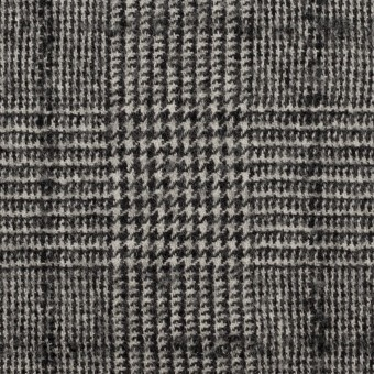 ウール×チェック(アイボリー&ブラック)×千鳥格子