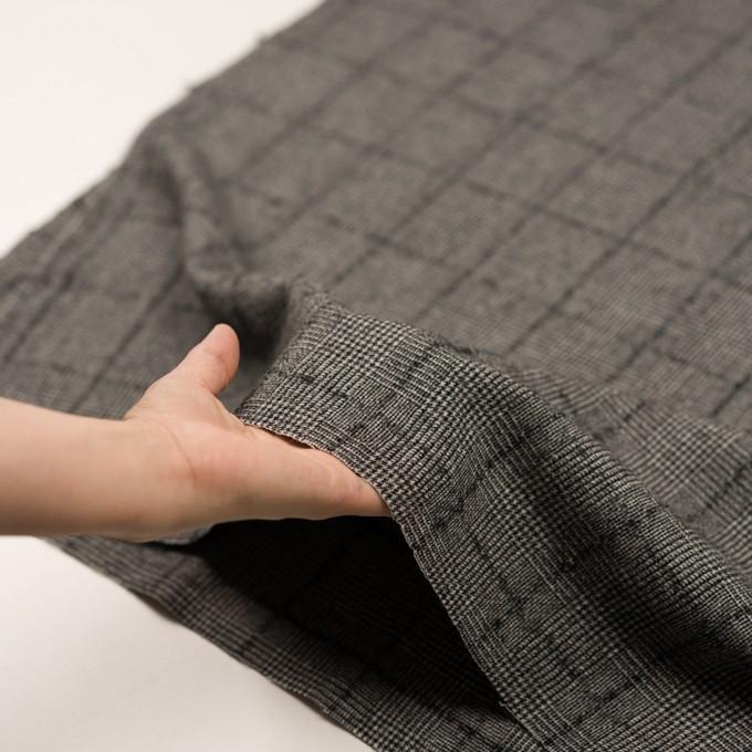 ウール×チェック(アイボリー&ブラック)×千鳥格子 イメージ5