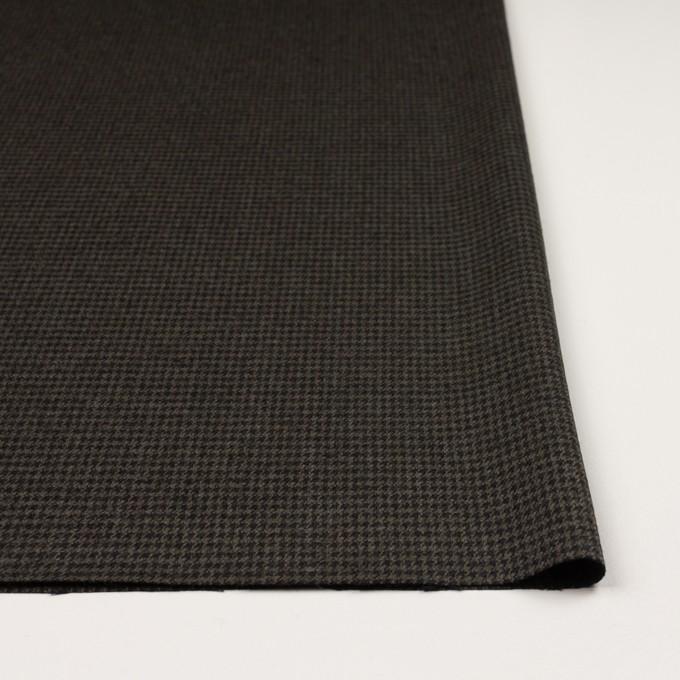 ウール&ポリウレタン×チェック(カーキグリーン&ブラック)×千鳥格子ストレッチ イメージ3