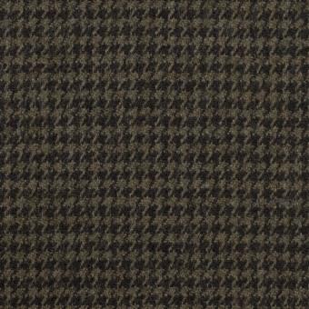 ウール&ポリウレタン×チェック(カーキグリーン&ブラック)×千鳥格子ストレッチ