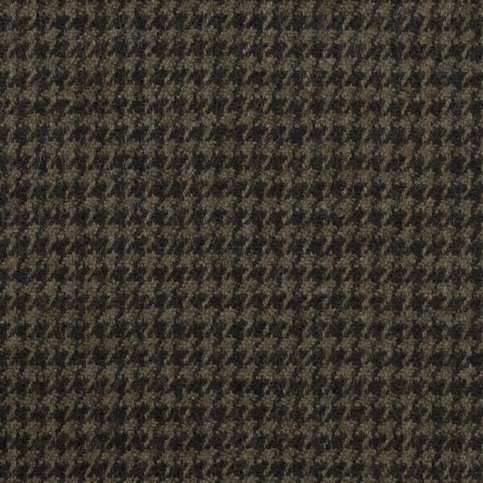 ウール&ポリウレタン×チェック(カーキグリーン&ブラック)×千鳥格子ストレッチ イメージ1