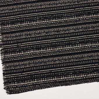 ポリエステル&コットン混×ボーダー(ブラック&エクリュ)×ファンシーツイード サムネイル2