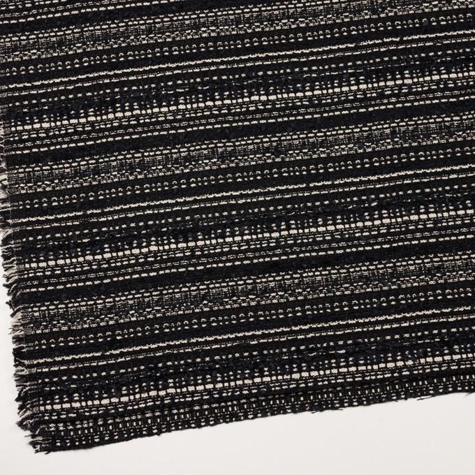 ポリエステル&コットン混×ボーダー(ブラック&エクリュ)×ファンシーツイード イメージ2