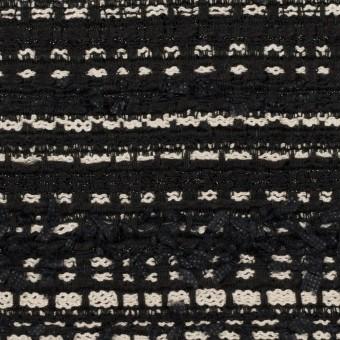 ポリエステル&コットン混×ボーダー(ブラック&エクリュ)×ファンシーツイード サムネイル1