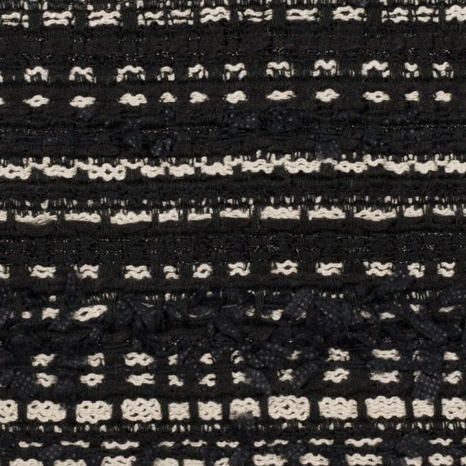ポリエステル&コットン混×ボーダー(ブラック&エクリュ)×ファンシーツイード イメージ1