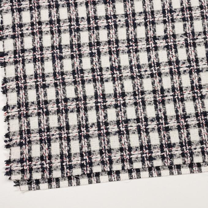 レーヨン&ウール混×チェック(アイボリー&ダークネイビー)×ファンシーツイード イメージ2