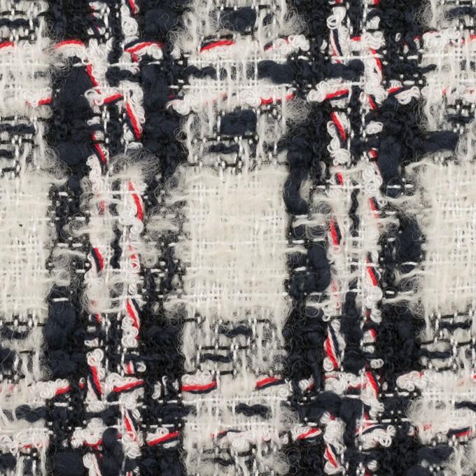 レーヨン&ウール混×チェック(アイボリー&ダークネイビー)×ファンシーツイード イメージ1