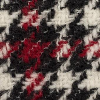 ウール×チェック(クリーム、レッド&ブラック)×ファンシーツイード