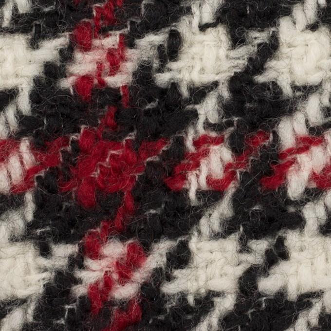 ウール×チェック(クリーム、レッド&ブラック)×ファンシーツイード イメージ1