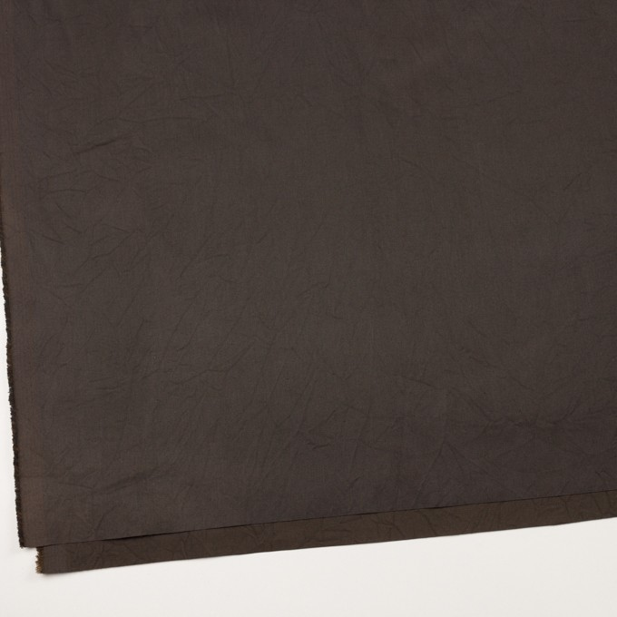 コットン&シルク×無地(ダークブラウン)×二重織ワッシャー イメージ2