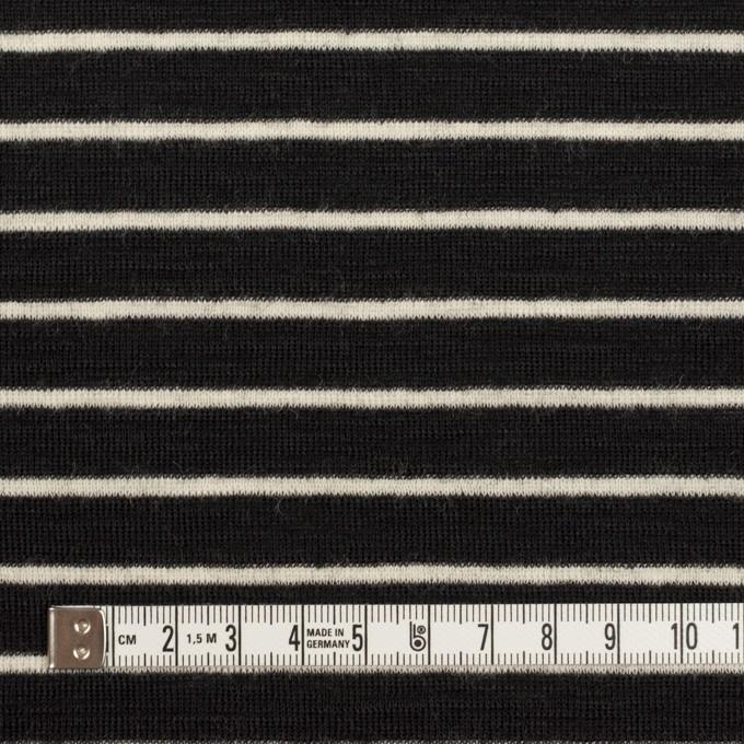 ウール×ボーダー(ブラック)×フライスニット イメージ4