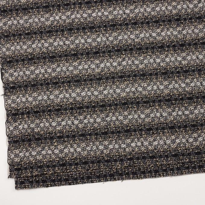 ウール×ボーダー(グレー、エクリュ&ブラック)×ツイードジャガード イメージ2