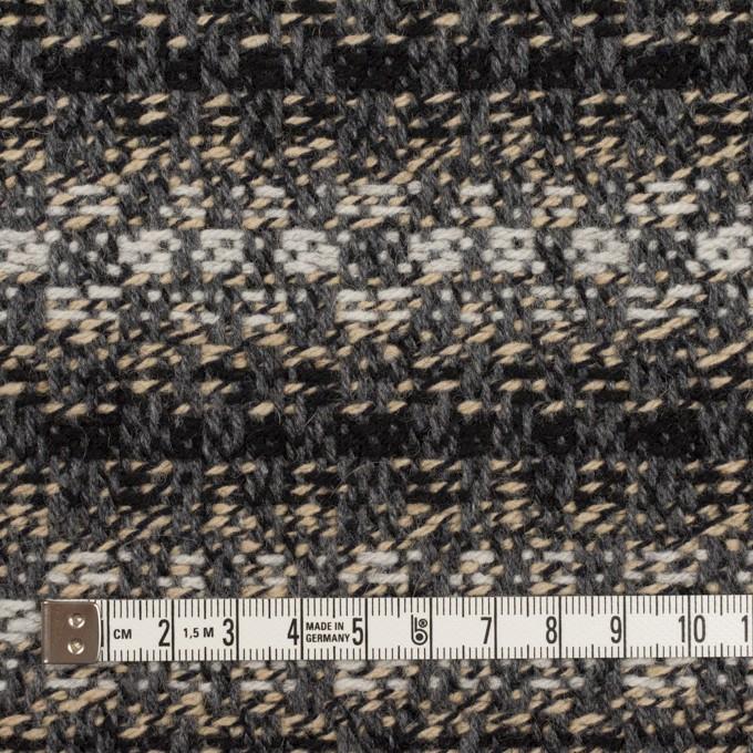 ウール×ボーダー(グレー、エクリュ&ブラック)×ツイードジャガード イメージ4