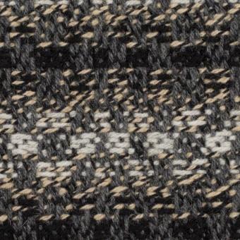 ウール×ボーダー(グレー、エクリュ&ブラック)×ツイードジャガード