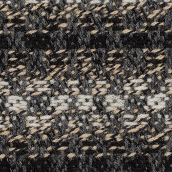 ウール×ボーダー(グレー、エクリュ&ブラック)×ツイードジャガード イメージ1