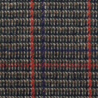 ウール&ポリウレタン×チェック(マリンブルー&レッド)×ツイード・ストレッチ_全2色 サムネイル1